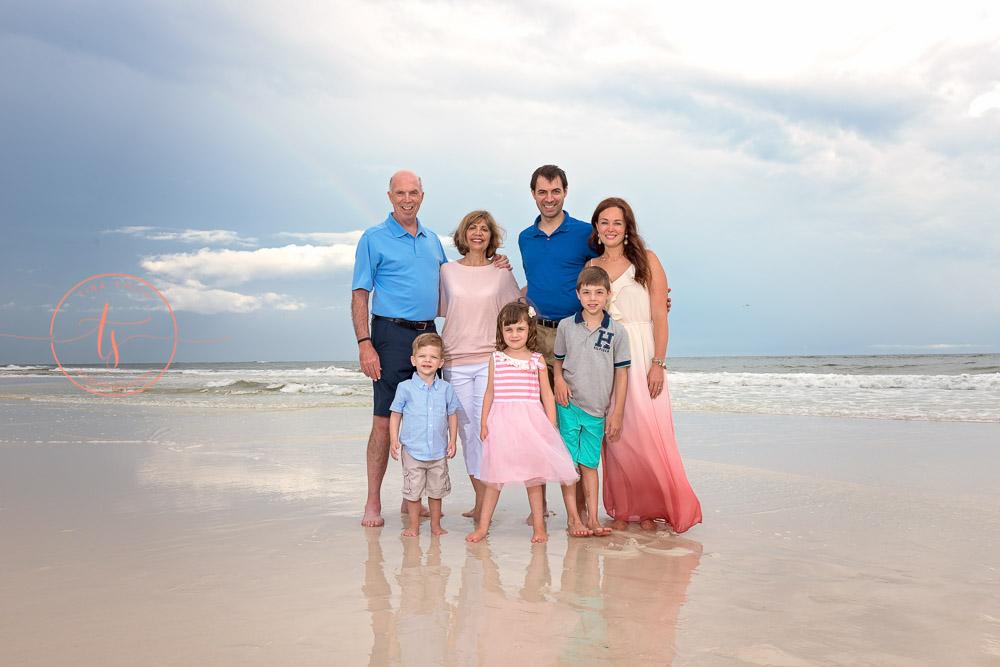grayton beach photography sunset family with rainbow on the beach