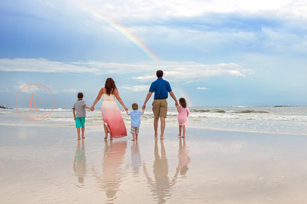 grayton beach photography sunset family with rainbow