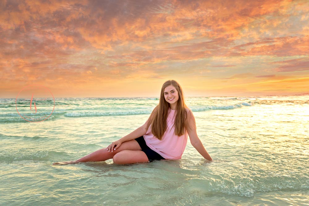 30A photographer Seaside senior portraits on the beach