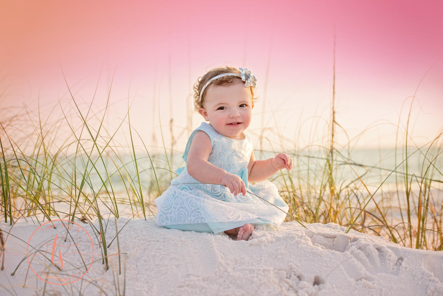 one year portraits on beach in destin