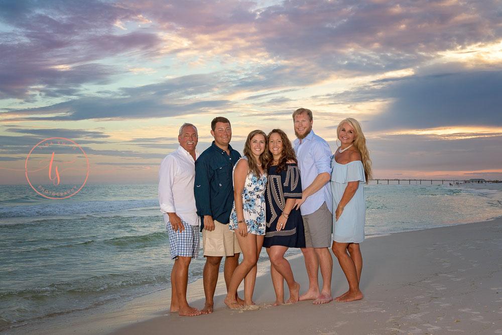 Destin photographer family beach portraits at sunset