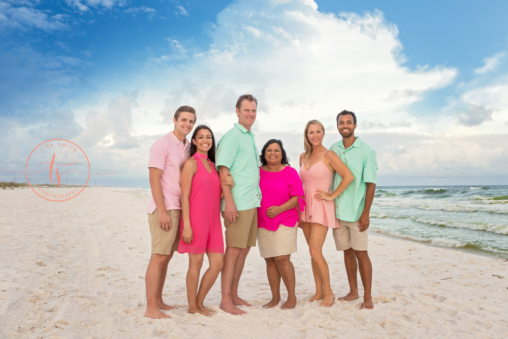 siblings and spouses destin family beach photographer