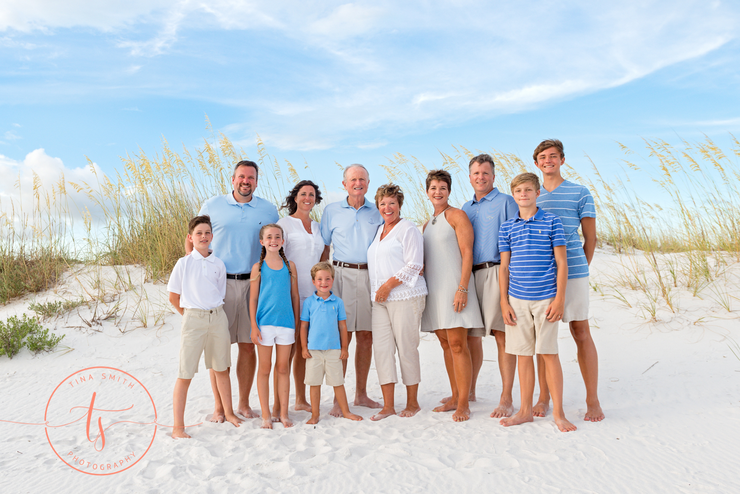 large extended family posing on the beach in destin for generational portrait