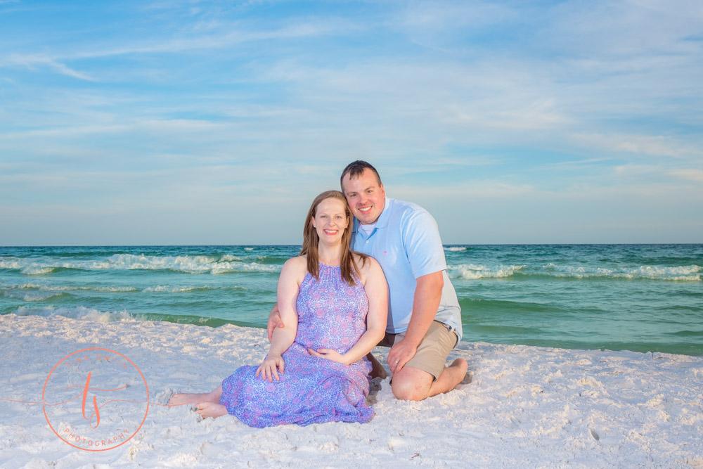 maternity couple on beach in destin